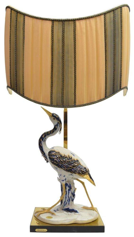 CAPODIMONTE PORCELAIN CRANE & LAMP, EDOARDO TASCA