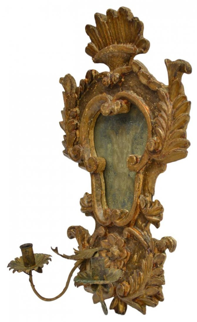 18TH C LOUIS XV STYLE GILTWOOD WALL MIRROR SCONCE