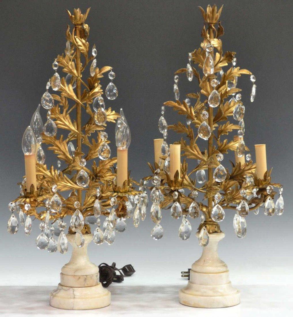 (2) FOLIATED GILT METAL & MARBLE GIRANDOLE LAMPS