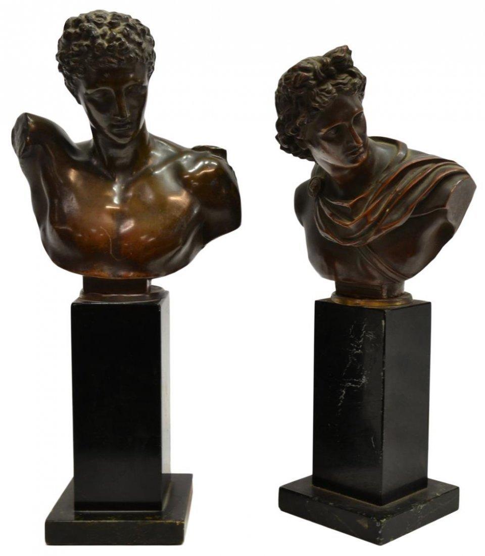 (2) BRONZE BUSTS: HERMES & APOLLO