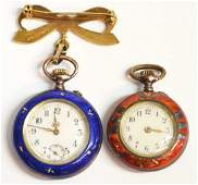 2 LADIES GUILLOCHE ENAMELED SWISS POCKET WATCHES