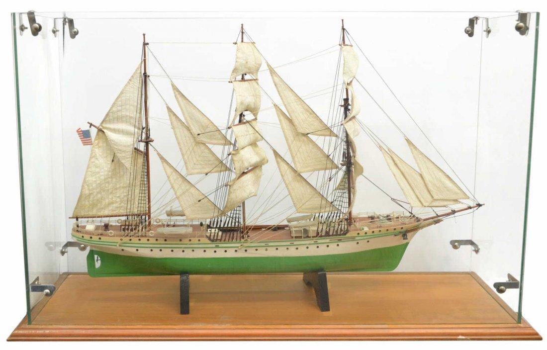 LARGE SHIPS MODEL, 'EAGLE, ENCLOSED IN GLASS CASE