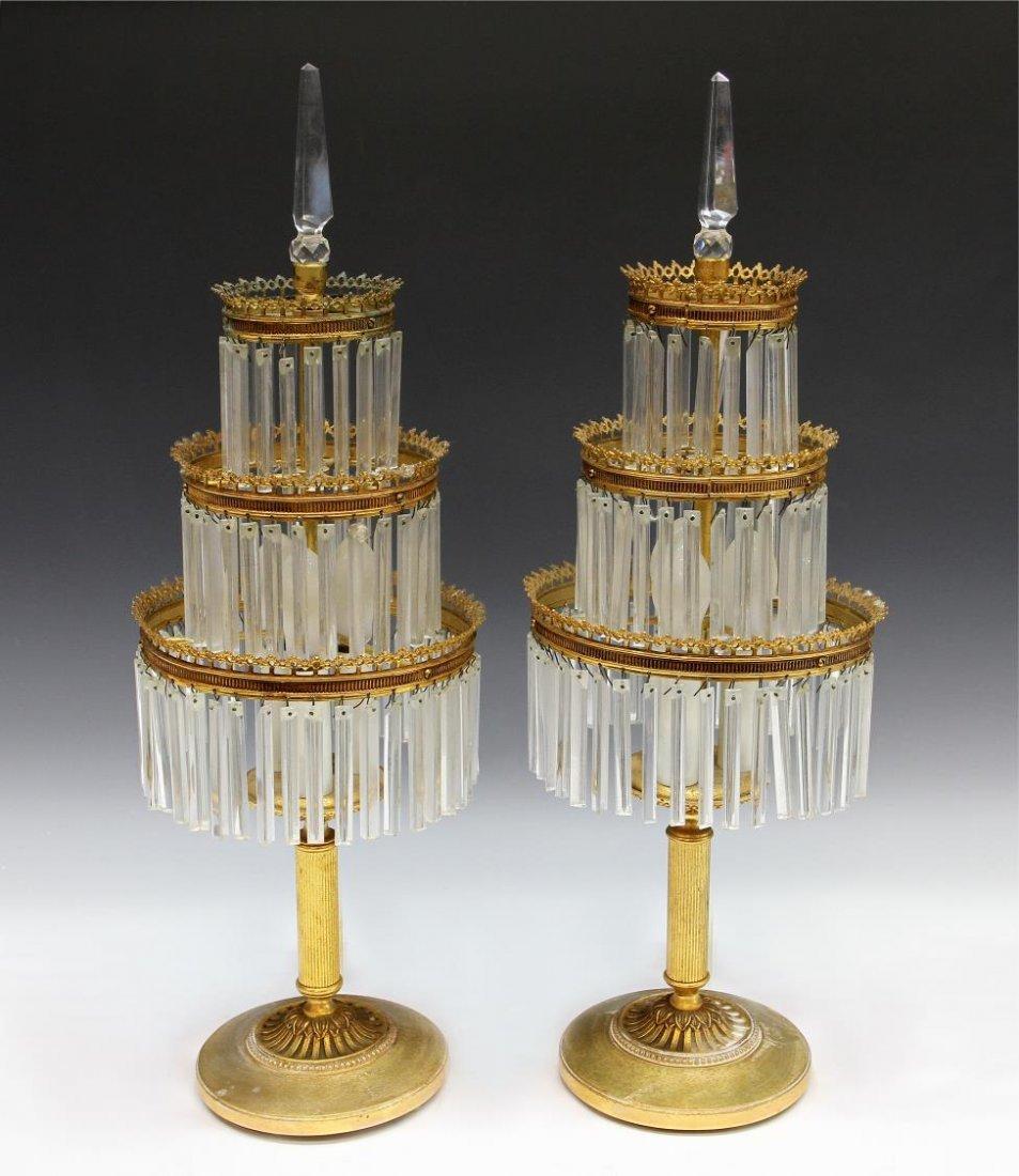 SPAIN THREE-TIER GILT METAL & PRISM TABLE LAMPS