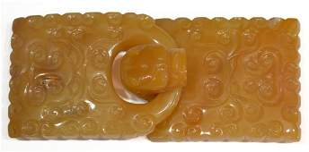 CHINESE QING DRAGON CARVED AGATE BELT BUCKLE