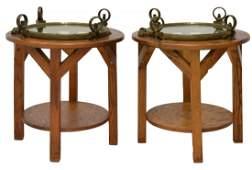 2 VINTAGE BRASS SHIPS PORTHOLE SIDE TABLES