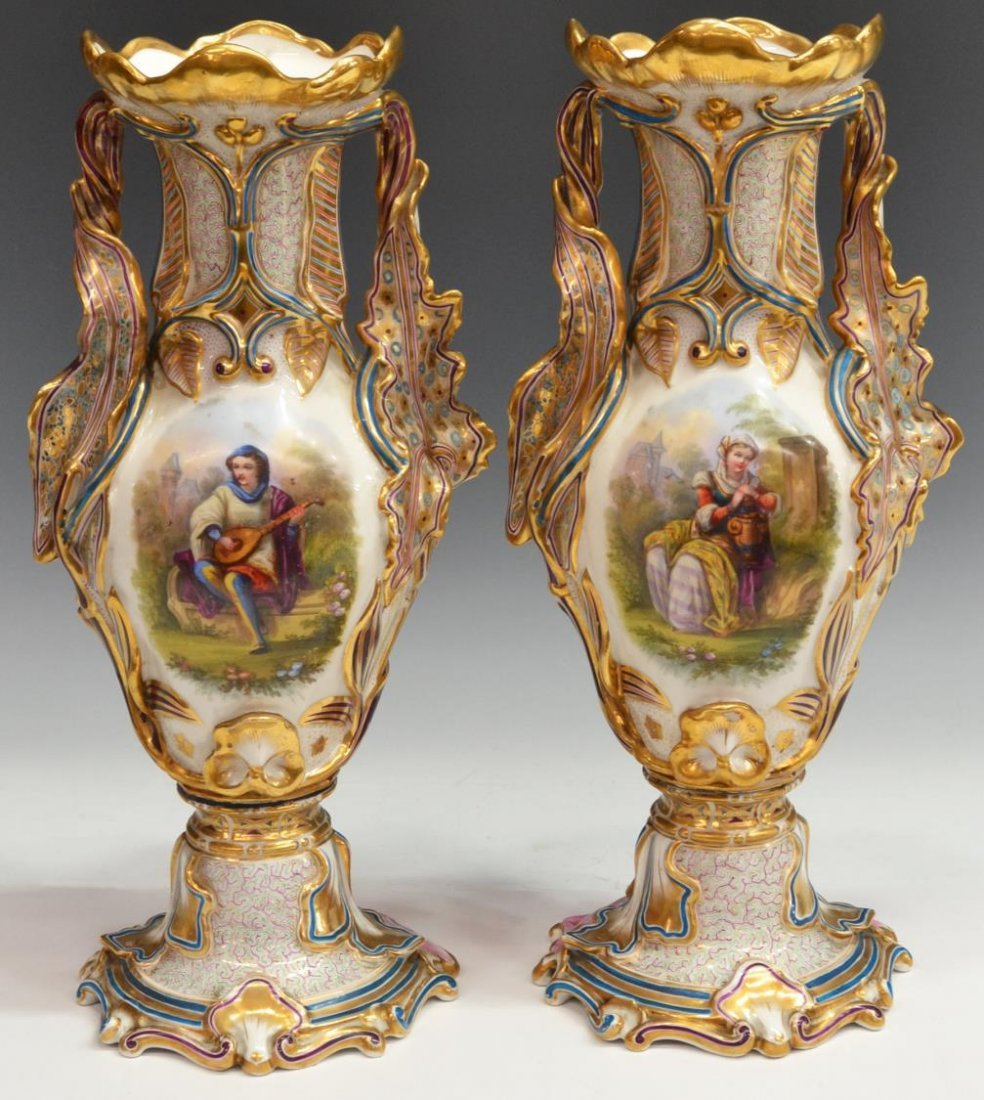 (2) 19TH C. OLD PARIS PARCEL GILT PORCELAIN VASES
