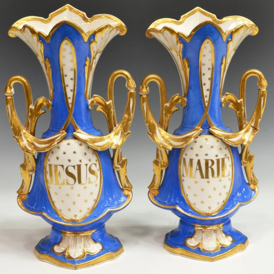(2) OLD PARIS PORCELAIN 'JESUS' & 'MARIE' VASES