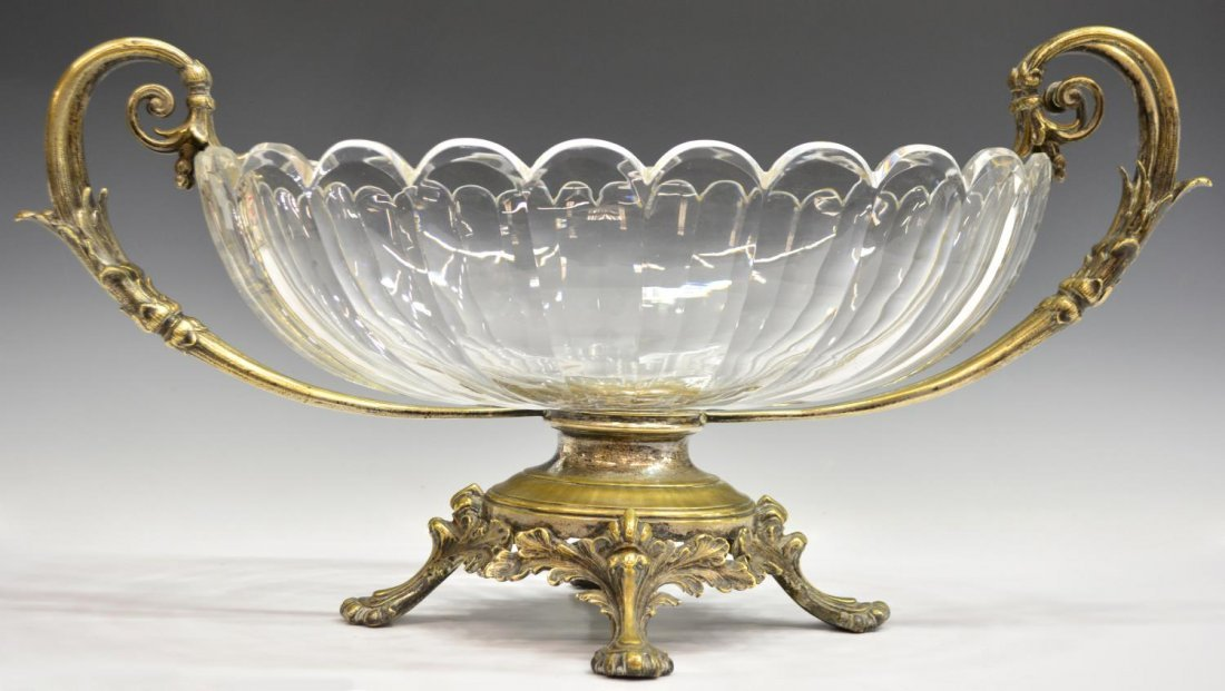CONTINENTAL GLASS & SILVERPLATE CENTERPIECE