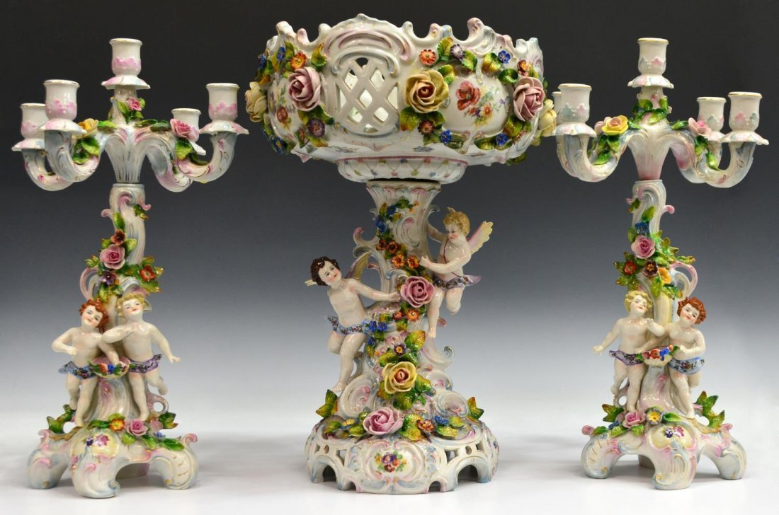(3) DRESDEN STYLE PORCELAIN CHERUB GARNITURE SET