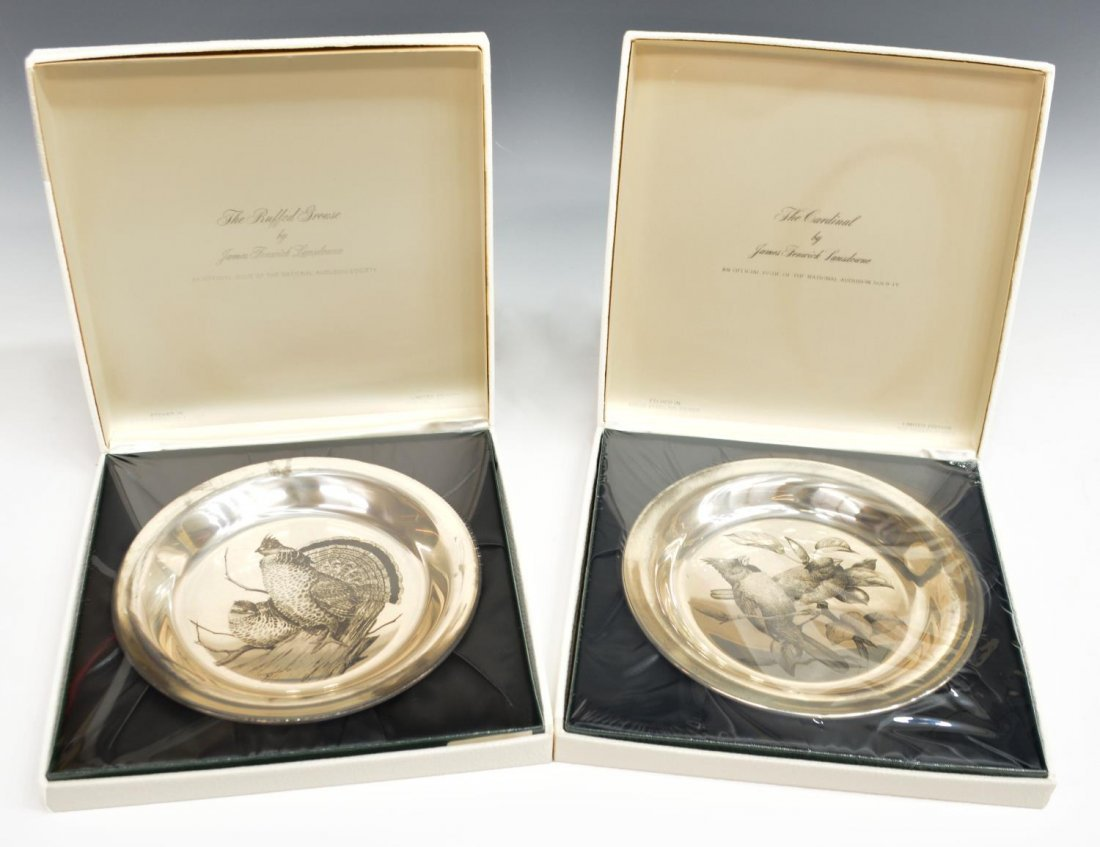 (2) STERLING SILVER BIRD PLATES, JAMES LANSDOWNE
