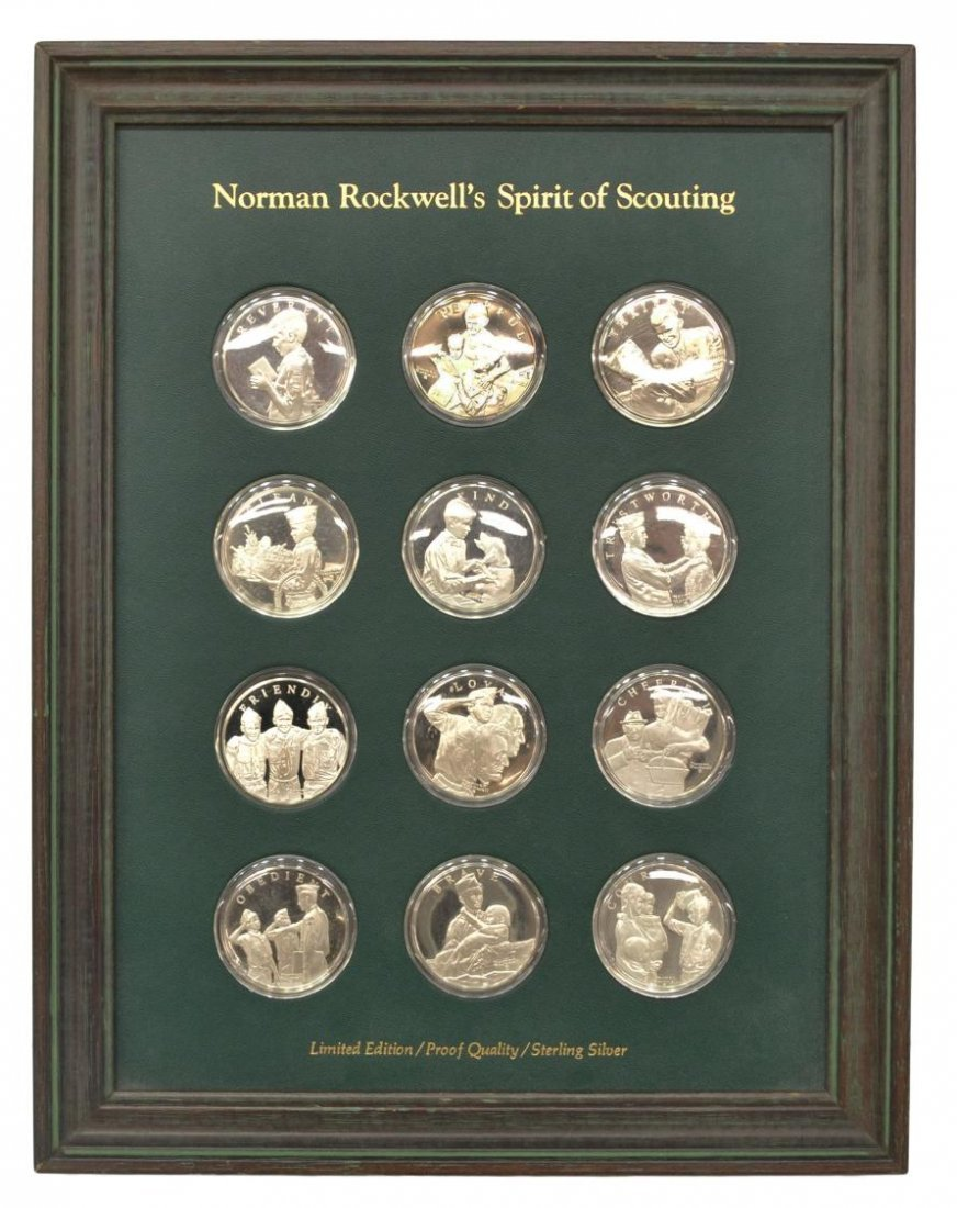 (12)FRANKLIN MINT STERLING SPIRT OF SCOUTING COINS