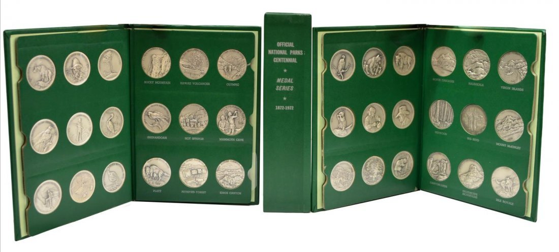 (36) STERLING SILVER NATIONAL PARK METALS, 39OZT