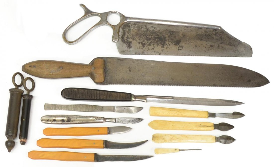 CIVIL WAR ERA ASSEMBLED SURGICAL TOOLS & CRUTCH