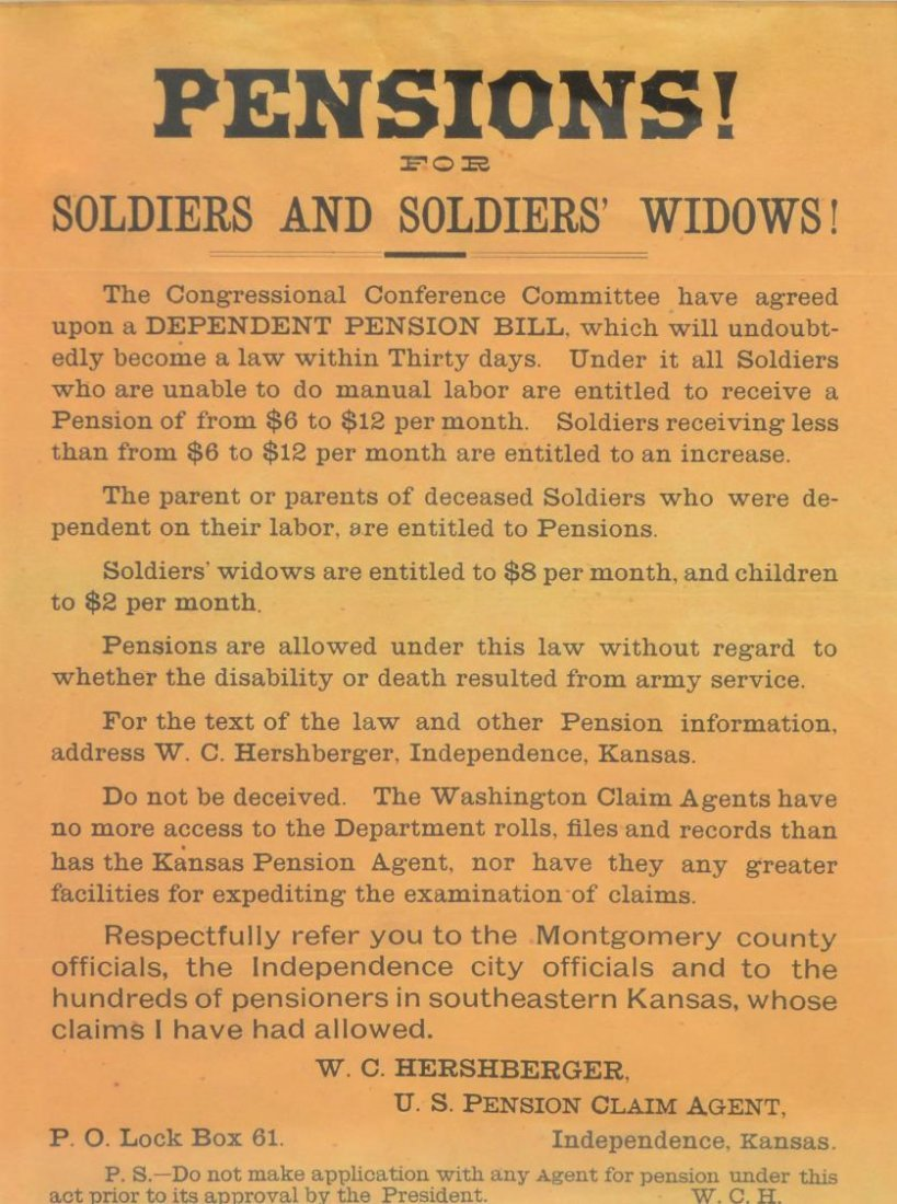 BROADSIDE, PENSIONS FOR SOLDIERS & WIDOWS