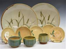 10 VINTAGE JAPANESE ART POTTERY CUPS CHARGERS
