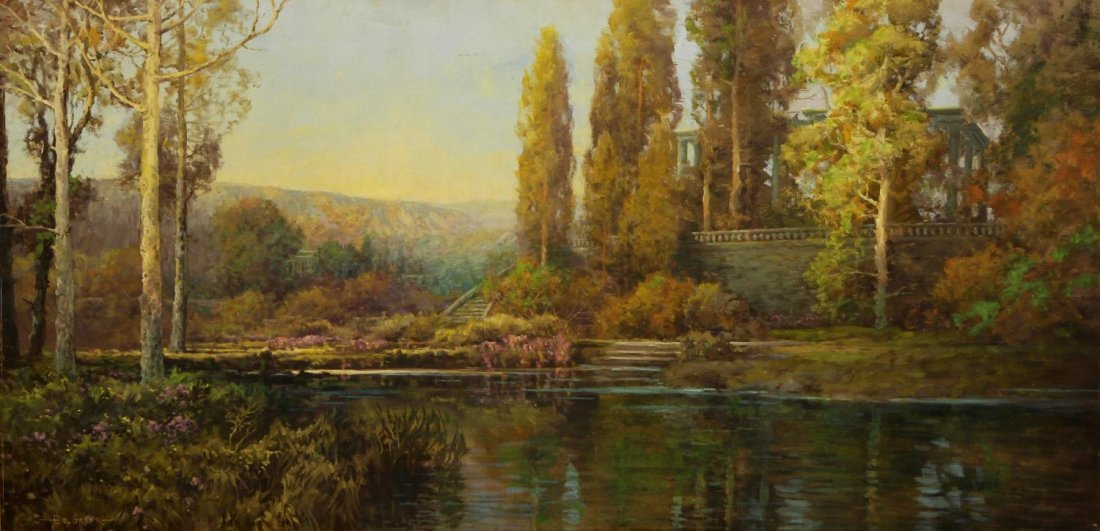 "HUGE PAINTING, LANDSCAPE, A.D. GREER 46"" X 95"""
