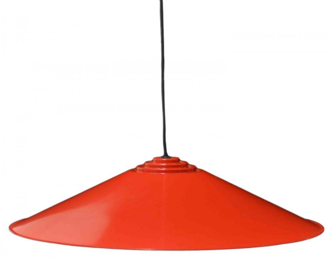 ITALIAN ELIO MARTINELLI RED METAL CEILING LIGHT