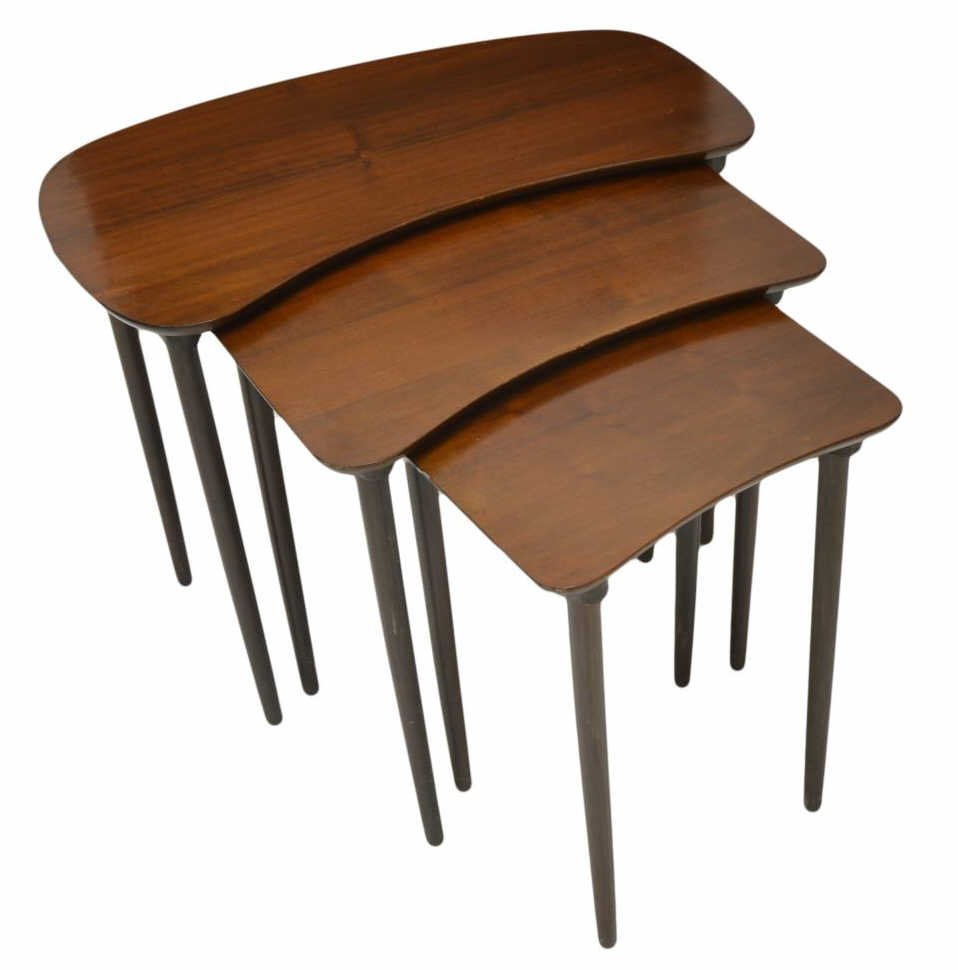 (3) DANISH MODERN NESTING TABLES
