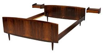 DANISH MID-CENTURY MODERN ROSEWOOD BED & STANDS