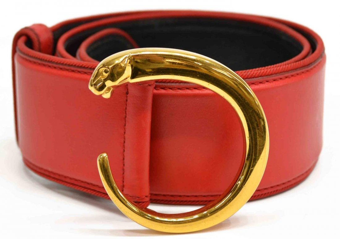 LADIES VINTAGE CARTIER RED LEATHER PANTHERE BELT