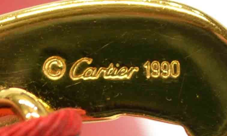 LADIES VINTAGE CARTIER RED LEATHER PANTHERE BELT - 6