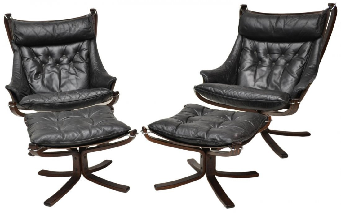 PAIR VATNE FALCON LEATHER SLING CHAIRS & STOOLS