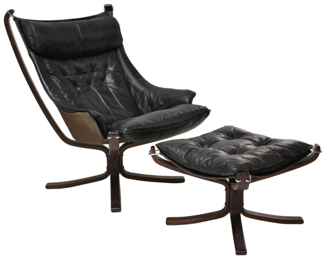 PAIR VATNE FALCON LEATHER SLING CHAIRS & STOOLS - 3