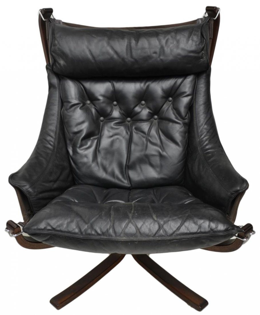 PAIR VATNE FALCON LEATHER SLING CHAIRS & STOOLS - 4