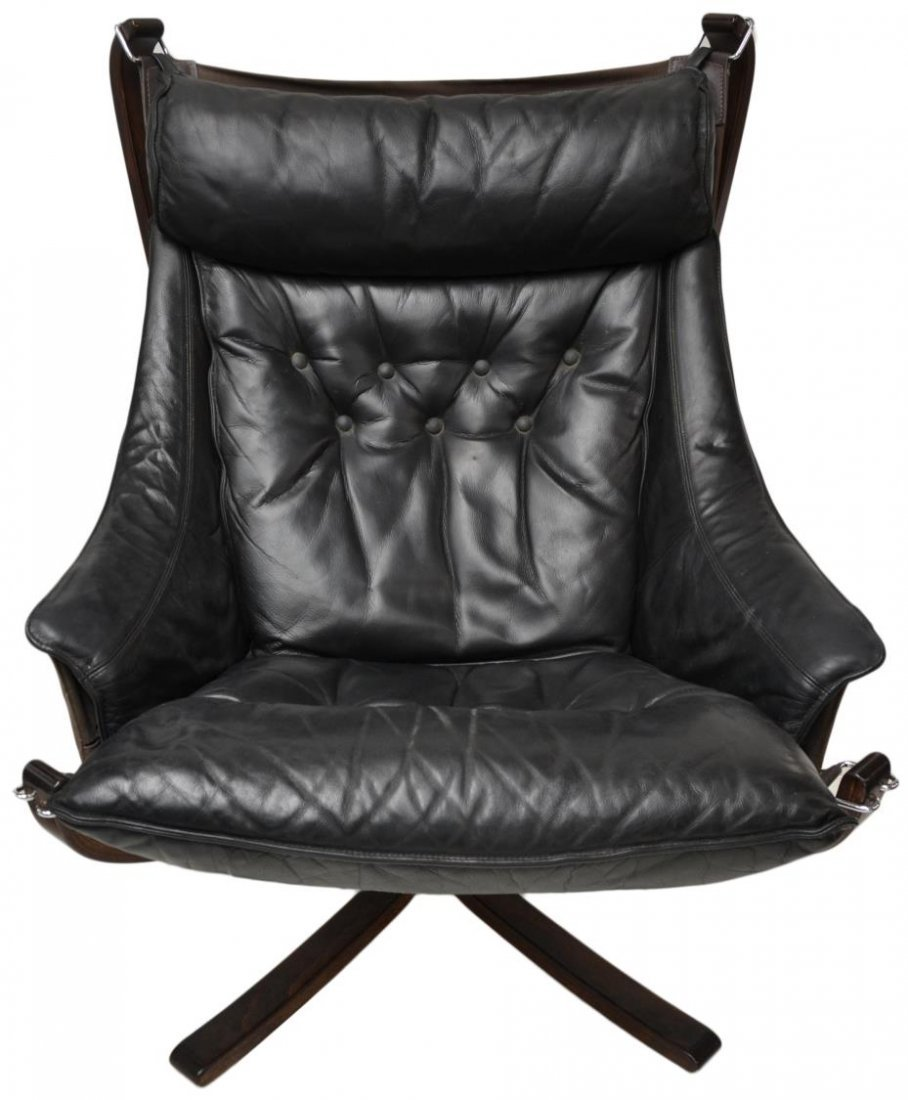 PAIR VATNE FALCON LEATHER SLING CHAIRS & STOOLS - 5