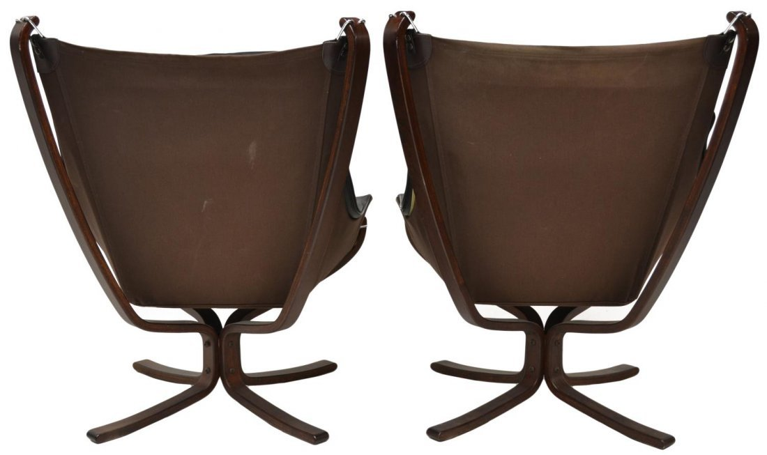 PAIR VATNE FALCON LEATHER SLING CHAIRS & STOOLS - 6