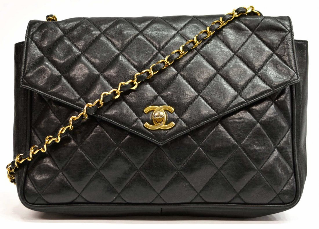 CHANEL QUILTED LAMBSKIN & GILT METAL SHOULDER BAG