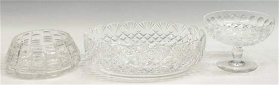 (3) WATERFORD CUT CYRSTAL COMPOTE & BOWLS