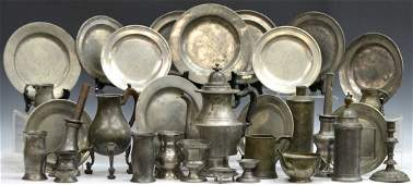 COLLECTION OF ANTIQUE PEWTER CABINET ITEMS