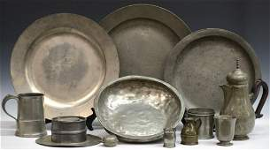 (12) GROUP ANTIQUE PEWTER SERVICE ITEMS, INKWELL