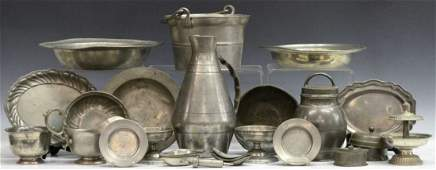 COLLECTION OF ANTIQUE PEWTER SERVICE ITEMS