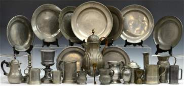 COLLECTION OF ANTIQUE PEWTER TABLE ITEMS