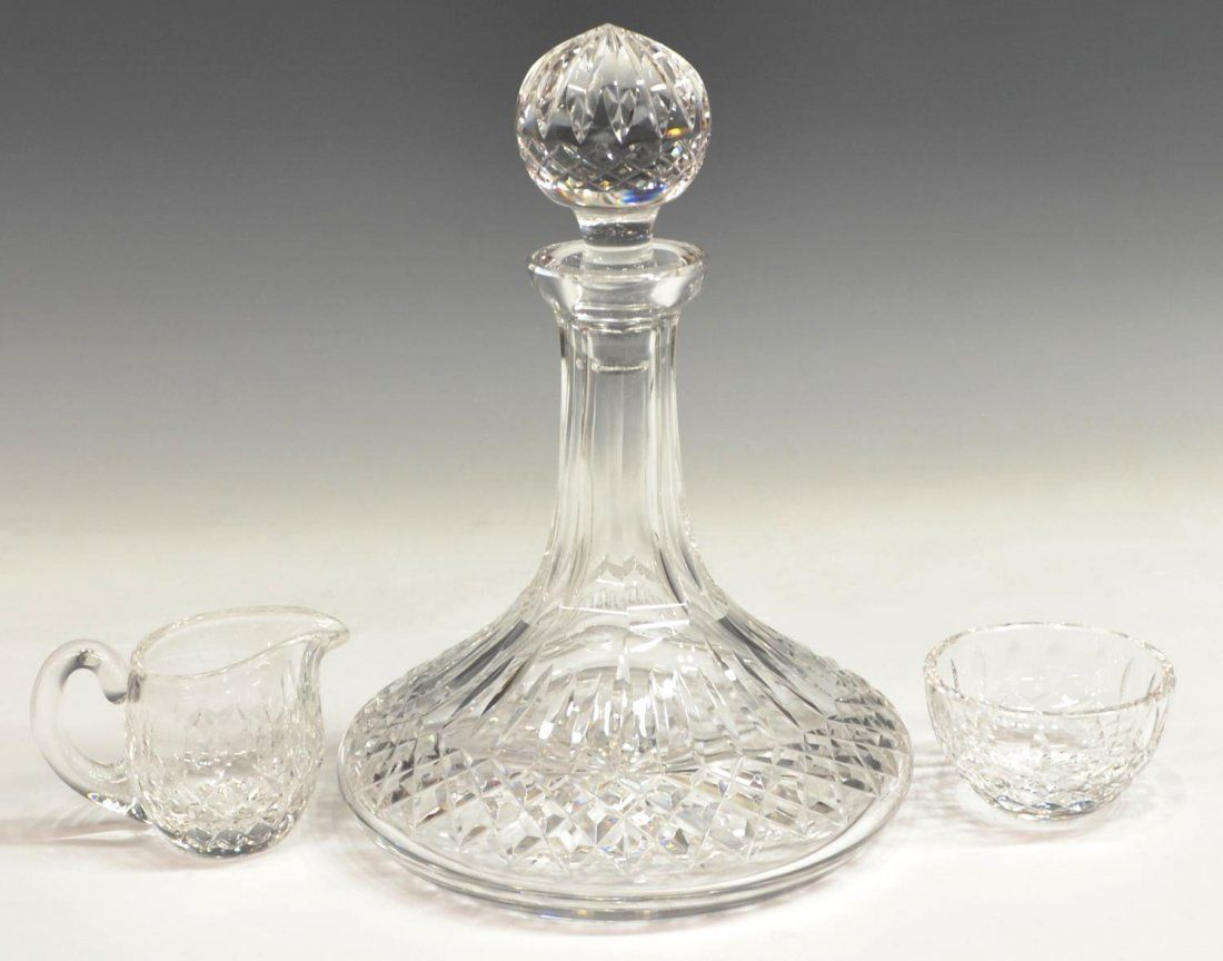 (3) WATERFORD CRYSTAL SHIP DECANTER & SERVICE SET