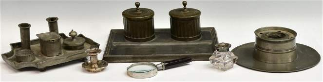 (6) GROUP OF ANTIQUE INKWELLS, MAGNIFYING GLASS