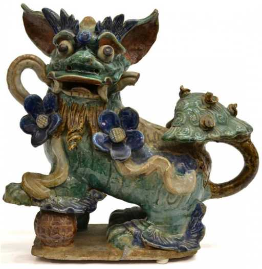Chinese Polychrome Glazed Ceramic Foo Lion Roof