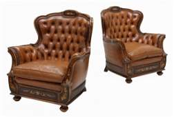 (2) ITALIAN BAROQUE STYLE LEATHER CLUB CHAIRS