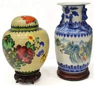 (2) ASIAN BLUE WHITE BALUSTER VASE & CLOISONNE JAR