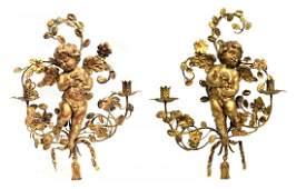 (2) ITALIAN GILTWOOD & METAL WINGED CHERUB SCONCES