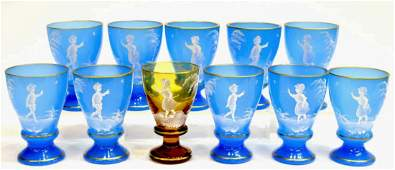 (11) MARY GREGORY TYPE BLUE OPALINE GOBLETS