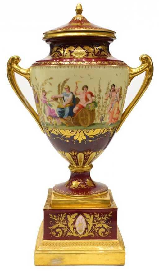 Antique Royal Vienna Porcelain Covered Urn Signed