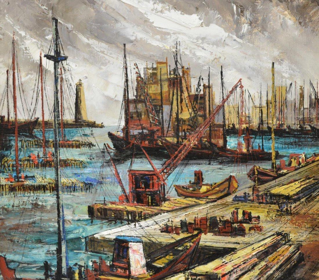 PAINTING, A SHIP YARD, JOSE DAROCA - 3