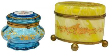 2 VICTORIAN GLASS  GILT ENAMEL DRESSER BOXES