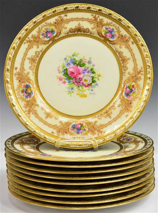 10 french limoges porcelain gilded service plates. Black Bedroom Furniture Sets. Home Design Ideas
