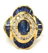 LADIES 14KT GOLD SAPPHIRE  DIAMOND ESTATE RING