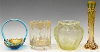 (4) VINTAGE GLASS GROUP, MOSER STYLE VASE