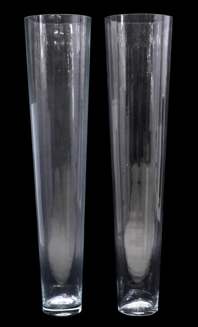 (2) MONUMENTAL COLORLESS GLASS FLOOR VASES